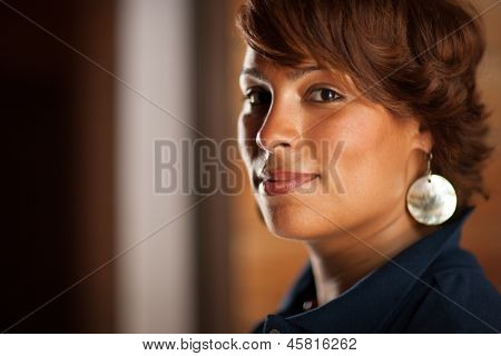 Portrait of beautiful confident African American woman, closeup.