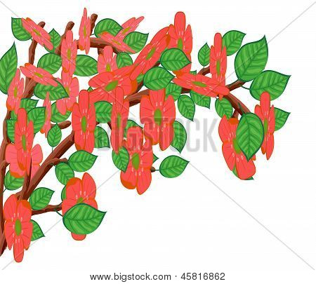Abstract Tree Branch With Flowers.