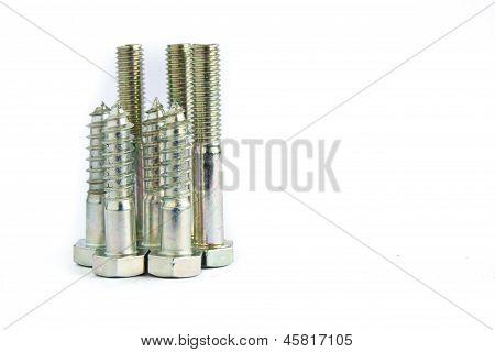 Pilha aleatória de hexagonais parafusos aço rosqueados ou parafusos em branco