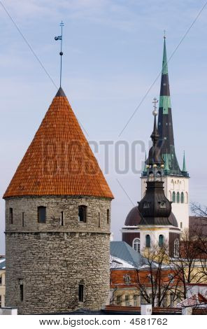 View On Fortifications And Old Church In Center Of Old Tallinn