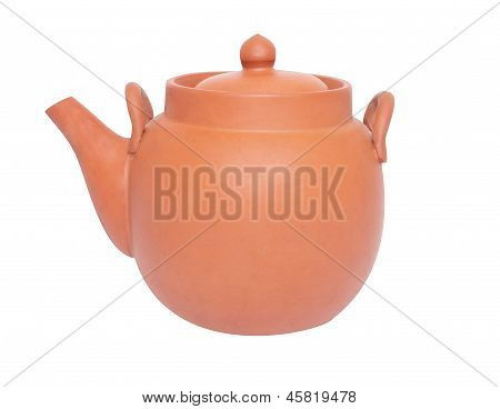 Brown Tea-pot  On White