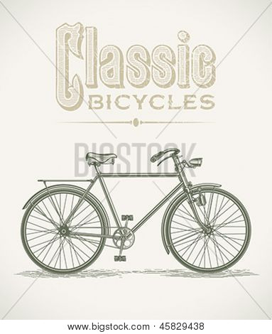 Vintage illustration with a classic gentleman's bicycle. Editable layered vector.