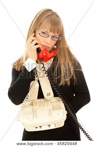 Displeasured Woman With Telephones