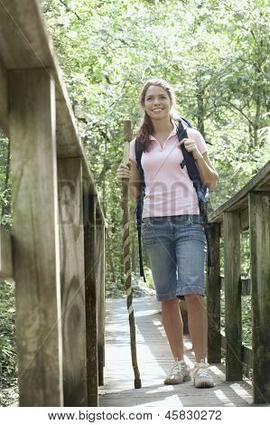 Young woman standing on a walkway