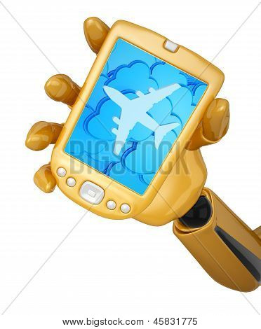 Robotic Hand Hold A Mobile Phone With Clouds And Silhouette Of Jet Airliner Icon