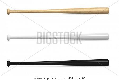 Blank baseball bats template isolated on white background.