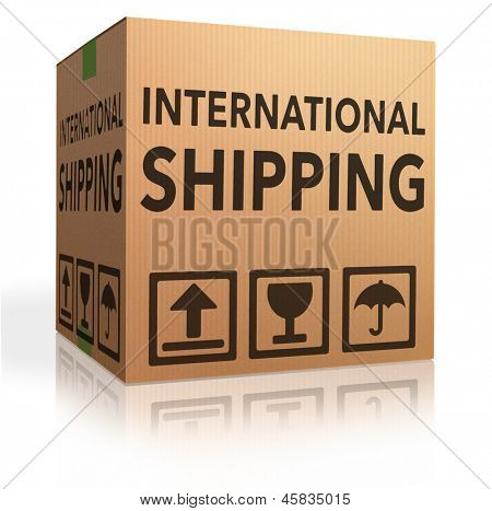 international delivery worldwide shipment of online package order from internet webshop, webshop icon cardboard box with text