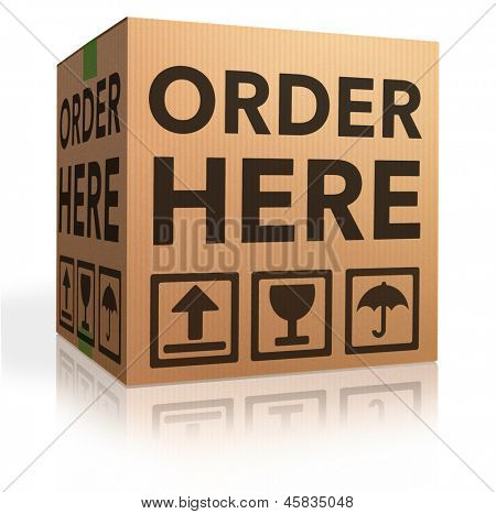 order here online webshop icon placing order at internet web shop now shopping cardboard box