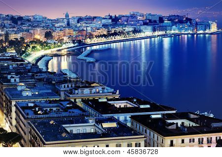 Naples Panoramic View By Night