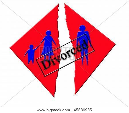 illustration Symbolizing Divorce In Family