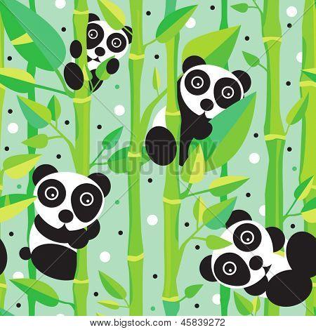 Seamless asia panda bear kids illustration background pattern in vector