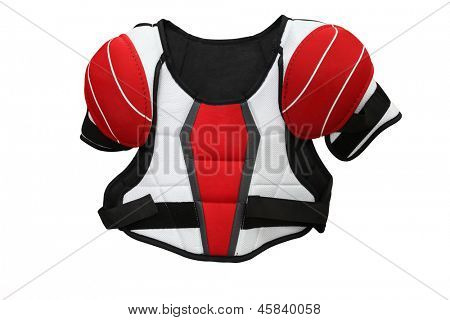 The image of hockey protective uniform under the white background