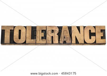 tolerance word - isolated text in letterpress wood type printing blocks