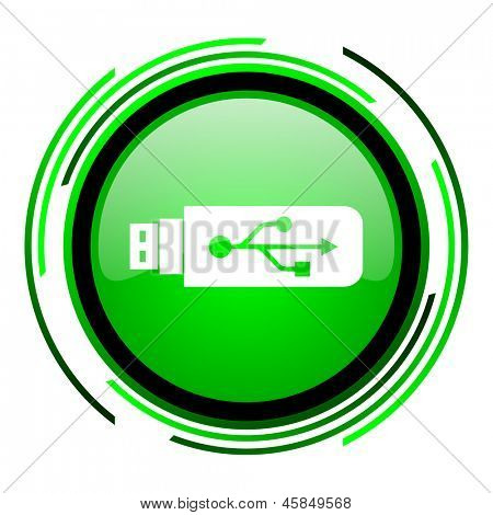 usb green circle glossy icon