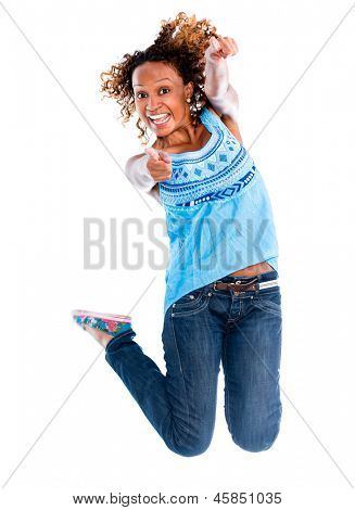 Fun woman jumping - isolated over a white background
