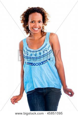 Black woman having fun snapping her fingers - isolated over white