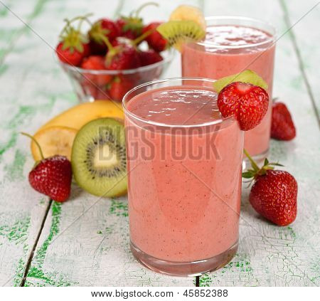 Smoothie Of Strawberries And Kiwi