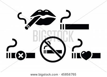 Sexy lips with ciagarette, no smoking vector icons set