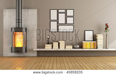 Black Contemporary Fireplace In Empty Room