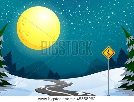 Ilustración de un largo camino bajo la brillante luna llena