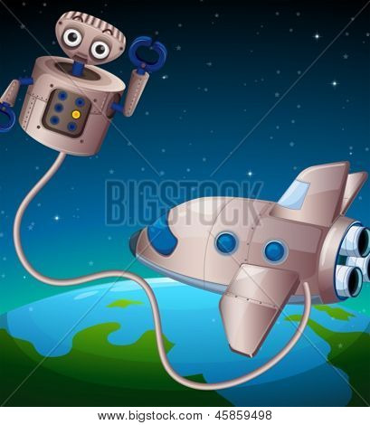 Illustration of a robot and an aircraft at the outerspace