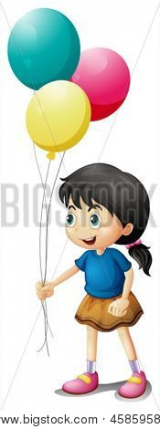 Illustration of a cute litte girl holding balloons on a white background
