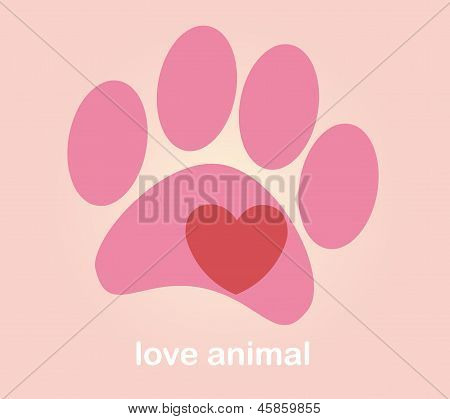 Heart and paw. illustration vector