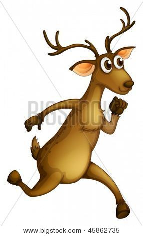 Illustration of a deer running on a white background