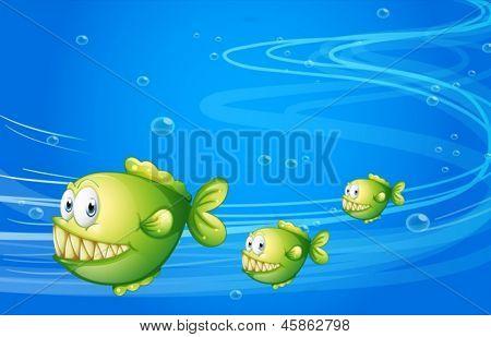 Illustration of the three green piranhas under the sea