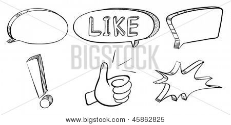 Illustration of a doodle set of callouts and symbols on a white background