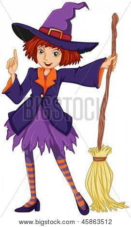 Ilustración de una bruja sosteniendo una escoba sobre un fondo blanco