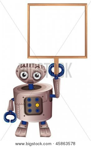 Illustration of a robot holding an empty board on a white background
