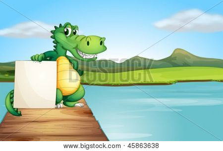 Ilustración de un cocodrilo sosteniendo un tablero vacío en el puente de madera