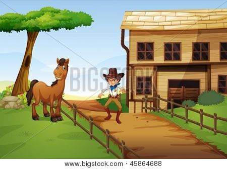 Illustration of an angry cowboy with a horse at the fence