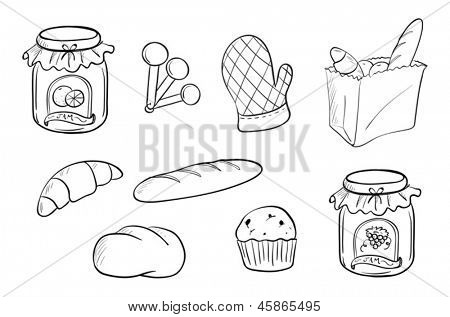 Illustration of a doodle design of bread and jam on a white background