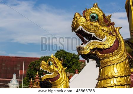 Thai Art, Naka Statue On Staircase