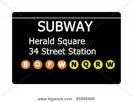 Herald Square 34 Street Station sign isolated on white, New York city, U.S.A.