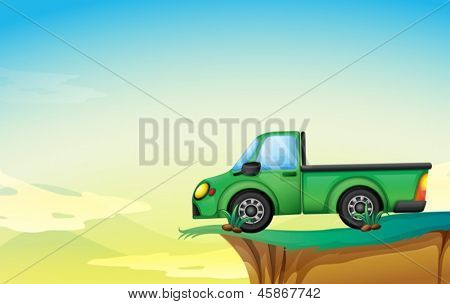 Illustration of a green cargo truck at the cliff
