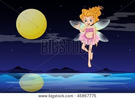 Illustration of a fairy near the moon