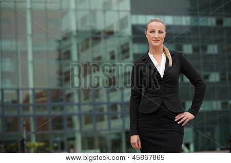 Portrait Of A Young Business Woman Standing Outside