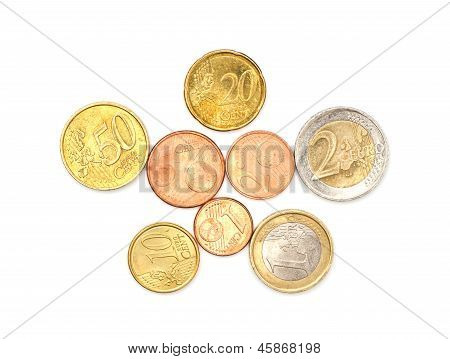 A few euros coins on white