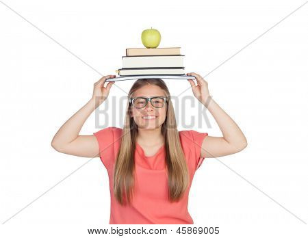 College student charged with books isolated on white background