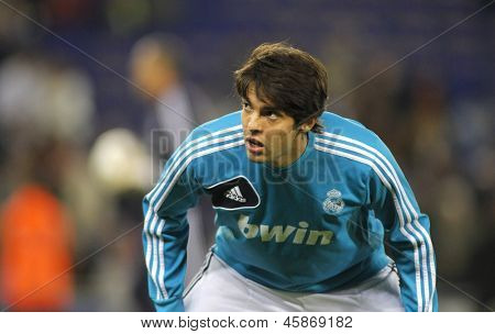 BARCELONA - MAY, 11: Kaka of Real Madrid before the Spanish League match between Espanyol and Real Madrid at the Estadi Cornella on May 11, 2013 in Barcelona, Spain