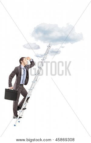 Full length portrait of a businessman with briefcase climbing a ladder towards clouds isolated on white background