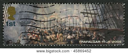 UK - CIRCA 2005: A stamp printed in UK shows image of the Nelson wounded on Deck of HMS Victory, Bicentenary of the Battle of Trafalgar (1st issue), circa 2005.
