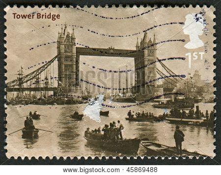 UK - CIRCA 2002: A stamp printed in UK shows image of the Tower Bridge, 1894 (Francis Frith), Bridges of London, circa 2002.