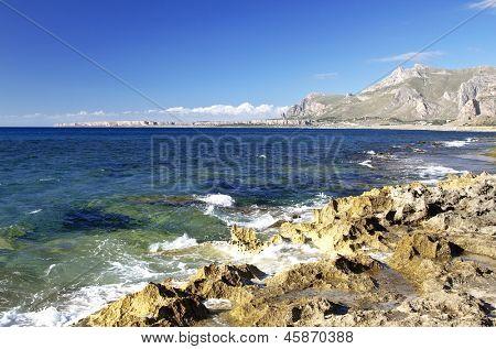 Castelluzzo coastal zone with  Capo San Vito in background, north western Sicily.