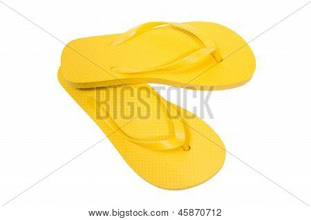 Flip Flops Yellow On White Background 	Flip Flops Yellow On White Background