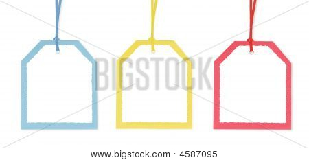 Three Gift Tags With Colorful Borders