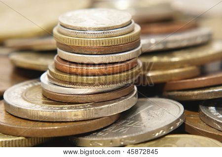 Pile Of Different Coins.